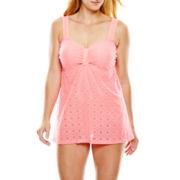 Aqua Couture Crochet Lace One-Piece Swimdress - Plus