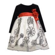 Bonnie Jean® Velvet Floral Dress - Toddler Girls 2t-4t