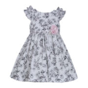 Bonnie Jean® Black and White Floral Dress - Toddler Girls 2t-4t