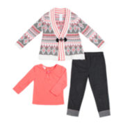 Little Lass Cardigan, Top and Jeggings Set - Preschool Girls 4-6x