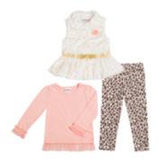 Little Lass Vest, Top and Leggings Set - Preschool Girls 4-6x