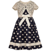Bonnie Jean® Polka Dot Dress and Lace Cardigan - Preschool Girls 4-6x
