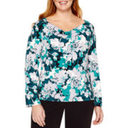 Liz Claiborne® 3/4-Sleeve Drape-Neck Top - Plus