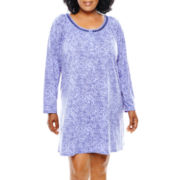 Earth Angels® Long-Sleeve Short Nightgown - Plus