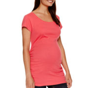Maternity Short-Sleeve Ruched-Side Scoopneck T-Shirt