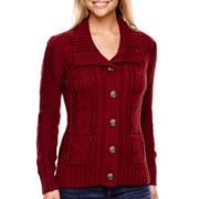 St. John's Bay® Long-Sleeve Button-Front Cable-Knit Cardigan - Tall