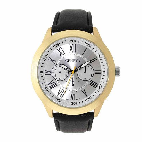 Geneva Mens Black and Gold-Tone Strap Watch