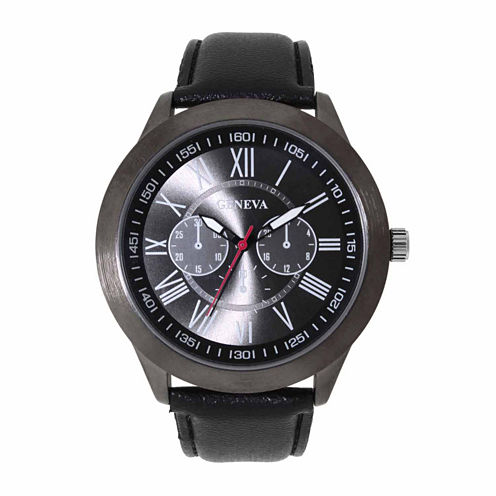 Geneva Mens Black and Green Strap Watch