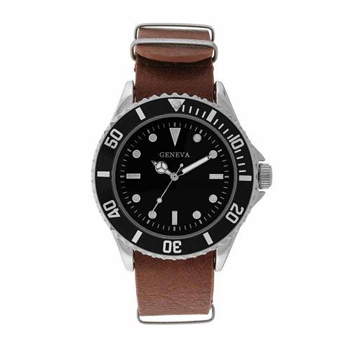 Geneva Mens Brown Strap Watch