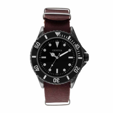jcpenney.com | Geneva Mens Brown and Silver-Tone Strap Watch