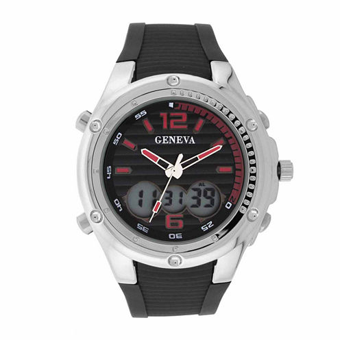 Geneva Mens Black and Silver-Tone Strap Watch