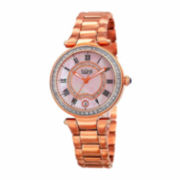 Bulova® Womens Diamond-Accent Rose-Tone Stainless Steel Bracelet Watch 98P143