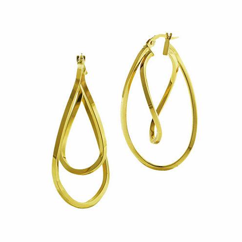 14K Yellow Gold Twisted Double Hoop Earrings