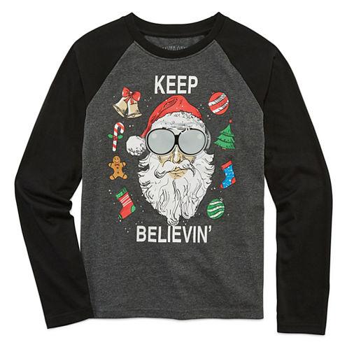 Seven Oaks Boys Christmas Light-up Raglan Long Sleeve T-Shirt-Big Kid
