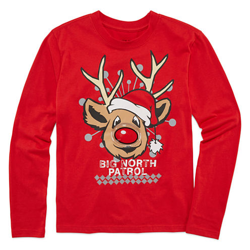 Seven Oaks Boys Christmas Light-up  Long Sleeve T-Shirt-Big Kid