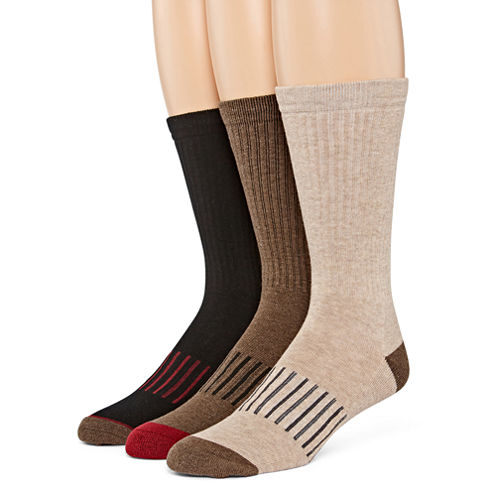 Stafford® Mens 3-pk. Casual Performance Crew Socks