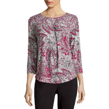 jcpenney.com | Liz Claiborne® 3/4-Sleeve Pleated Top