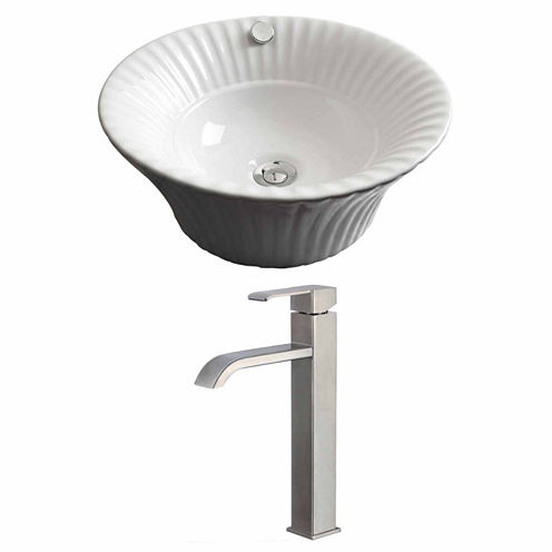 American Imaginations 17-in. W Above Counter WhiteVessel Set For Deck Mount Drilling - Faucet Included