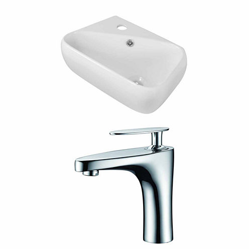 American Imaginations 17.5-in. W Above Counter White Vessel Set For 1 Hole Left Faucet - Faucet Included