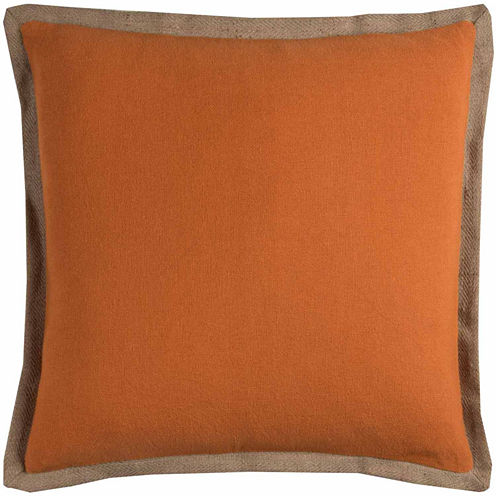 Rizzy Home Jute Trim Solid Square Throw Pillow