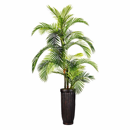 "Laura Ashley 105"" Tall Palm Tree In Fiberstone Planter"