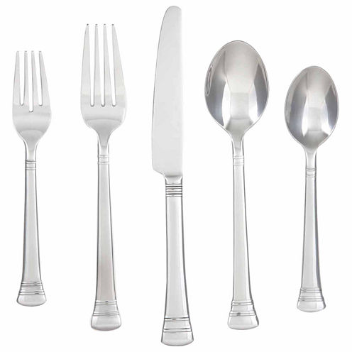 Cambridge Silversmiths Burbank Mirror 40-pc. Flatware Set with Chrome Buffet Storage Tray