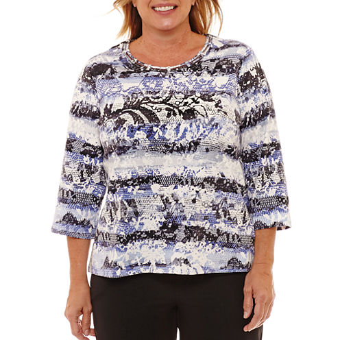 Alfred Dunner Fall Tees 3/4 Sleeve Crew Neck T-Shirt-Womens Plus