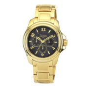 Armitron® Mens Black Dial Gold-Tone Stainless Steel Watch