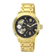 Armitron® Mens Gold-Tone Black Dial Hybrid Bracelet Watch