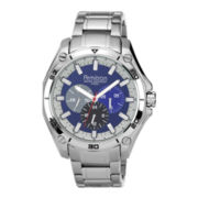 Armitron® Mens Silver-Tone Blue Dial Multifunction Watch