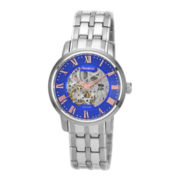 Armitron® Mens Silver-Tone & Blue Automatic Skeleton Watch