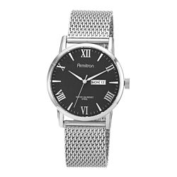Armitron® Mens Silver-Tone Black Dial Mesh Band Watch