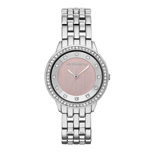 Liz Claiborne® Womens Pink Crystal-Accent Bracelet Watch