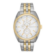 Claiborne Mens Two-Tone Multifunction Watch