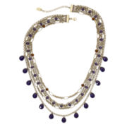 nicole by Nicole Miller Smoky Topaz & Purple Stone Multi-Chain Necklace