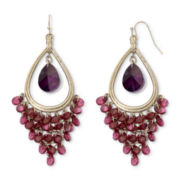 nicole by Nicole Miller Purple & Burgundy Stone Chandelier Earrings