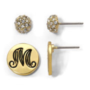 "Gold-Tone ""M"" & Crystal Button Stud Earrings 2-pr. Set"