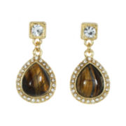 ROX by Alexa Tiger's Eye & Crystal Drop Earrings