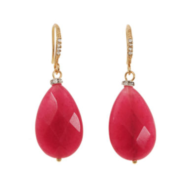 jcpenney.com | ROX by Alexa Dyed Pink Jade Teardrop Earrings