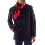 IZOD® Peacoat with Rugby Scarf