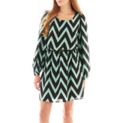 My Michelle® 3/4-Sleeve Belted Chevron Print Dress