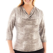 MSK 3/4-Sleeve Cowlneck Top - Plus