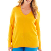 jcp™ Long-Sleeve Fine-Gauge V-Neck Sweater - Plus
