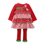 Bonnie Jean Christmas Tiered Tunic and Leggings Set - Girls 2t-4t