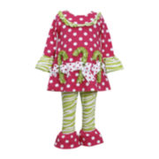 Bonnie Jean Candy Canes Top and Leggings Set - Girls 2t-4t