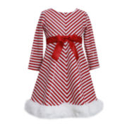 Bonnie Jean Candy Cane Striped Santa Dress- Girls 2t-4t