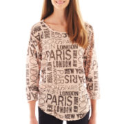 Almost Famous Print High-Low Knit Top