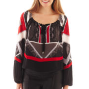 XOXO® Long-Sleeve Geometric Print Peasant Top