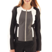 XOXO® Faux Leather Colorblock Jacket