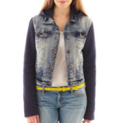 Wallflower Quilted-Sleeve Fleece Denim Jacket